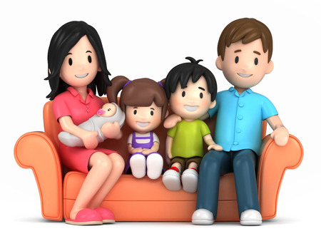 cute clipart: 3d render of a happy family Stock Photo