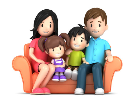 3d render of a happy family Standard-Bild