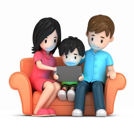 3d render of a happy family using tablet Standard-Bild