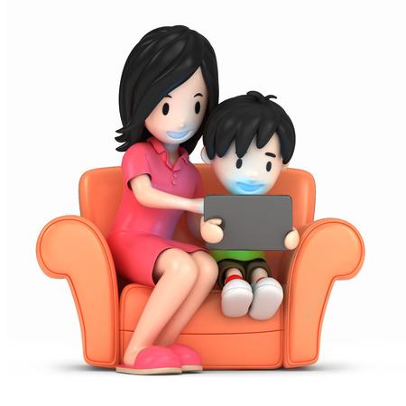 3D-Darstellung von einer glücklichen Mutter und Sohn mit Tablette machen Standard-Bild - 29763173