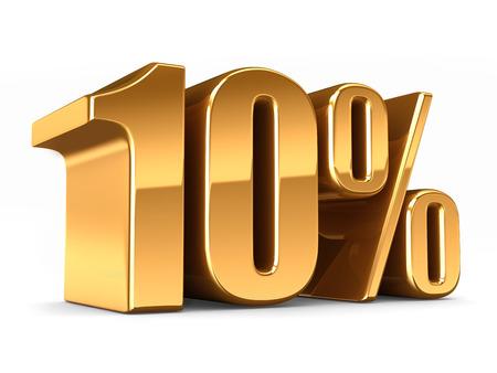 3D-Darstellung von einem Gold 10 Prozent machen Standard-Bild - 29763175
