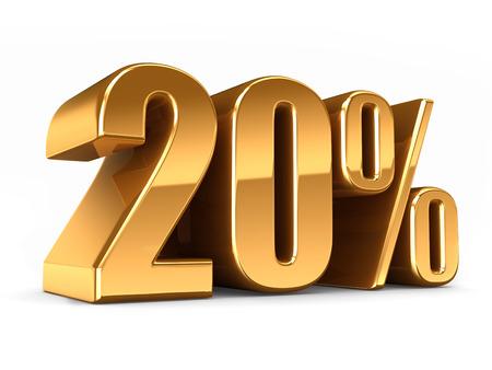 3D-Darstellung von Gold 20 Prozent machen Standard-Bild - 29763177