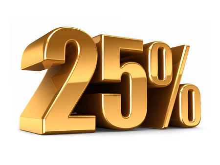 numbers clipart: 3d render of a Gold 25 percent