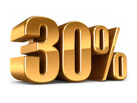 3D-Darstellung von Gold 30 Prozent machen Standard-Bild - 29763179