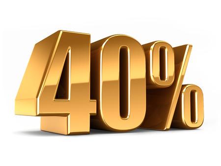 40: 3d render of a Gold 40 percent
