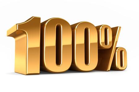 3D-Darstellung von einem Gold 100 Prozent machen Standard-Bild - 29763271