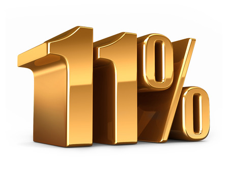 11 number: 3d render of a Gold 11 percent Stock Photo