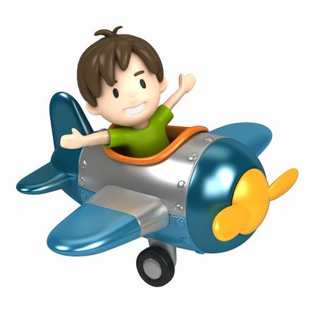 3D übertragen von einem Kind reitet auf einem Flugzeug machen Standard-Bild - 29763280