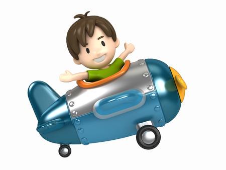 3D übertragen von einem Kind Reiten auf einem Flugzeug machen Standard-Bild - 29763281