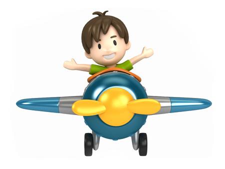 3D übertragen von einem Kind reitet auf einem Flugzeug machen Standard-Bild - 29763283