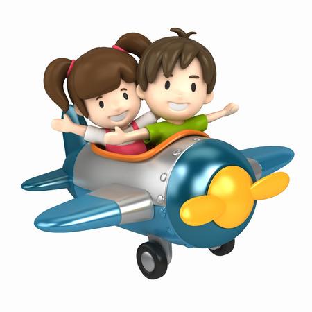 3D übertragen von einem Kinder reiten auf einem Flugzeug machen Standard-Bild - 29763284