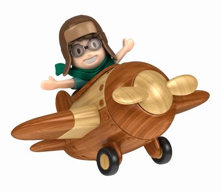 3D übertragen von einem Kind reitet auf einem Flugzeug machen Standard-Bild - 29763293