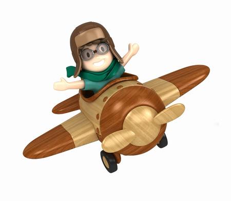 3D übertragen von einem Kind reitet auf einem Flugzeug machen Standard-Bild - 29763292
