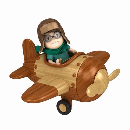 3D übertragen von einem Kind Fliegen und Flugzeug machen Standard-Bild - 29763295