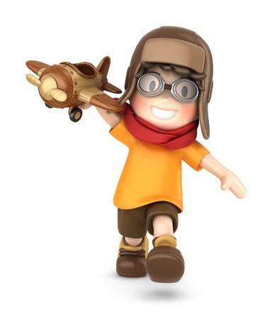3D-Darstellung von ein glückliches Kind spielt mit Spielzeug-Flugzeug machen Standard-Bild - 29763296
