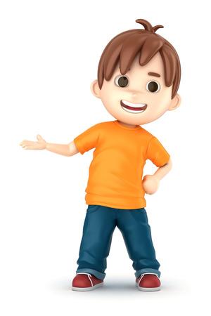 3D übertragen von einem glücklichen Jungen Präsentieren machen Standard-Bild - 32013926