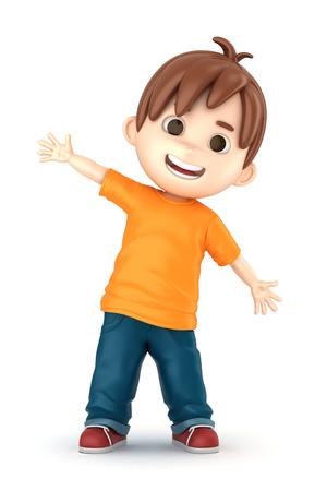3D übertragen von einem glücklichen Jungen machen Standard-Bild - 32013928