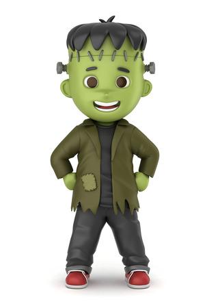 3D übertragen von einem jungen tragen Halloween Frankenstein Kostüm machen Standard-Bild - 32013929