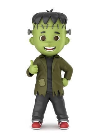 3D übertragen von einem jungen tragen Halloween Frankenstein Kostüm machen Standard-Bild - 32013930