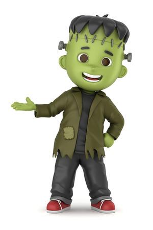 3D übertragen von einem jungen tragen Halloween Frankenstein Kostüm machen Standard-Bild - 32013931