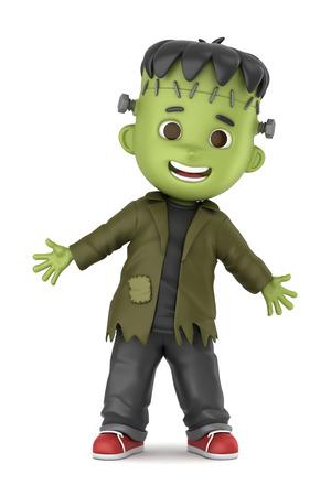 3D render of a boy wearing Halloween Frankenstein costume