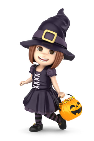 3d witch: 3D render of a girl wearing Halloween witch costume Stock Photo