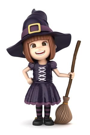 bruja: 3D render de una chica que usa traje de la bruja de Halloween