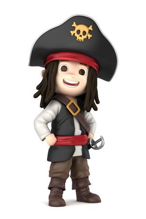 3D übertragen von einem jungen tragen Halloween Piratenkostüm machen Standard-Bild - 32013939