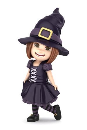 3D übertragen von einem Mädchen, das Halloween-Hexekostüm machen Standard-Bild - 32013942