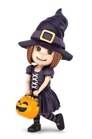 3D übertragen von einem Mädchen, das Halloween-Hexekostüm machen Standard-Bild - 32013943