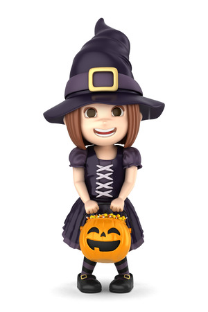 3d halloween: 3D render of a girl wearing Halloween witch costume Stock Photo