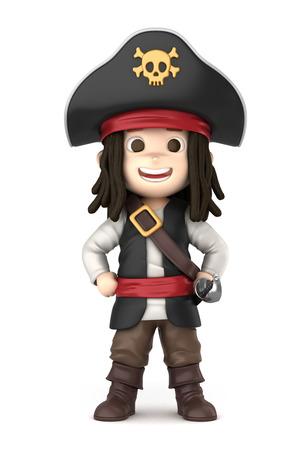 3D übertragen von einem jungen tragen Halloween Piratenkostüm machen Standard-Bild - 32013945