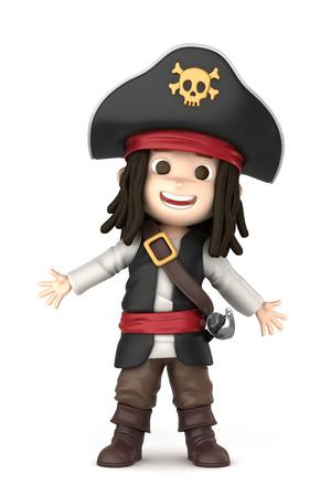 3D-Darstellung von einem Jungen tragen Halloween-Piraten-Kostüm machen Standard-Bild - 32013948