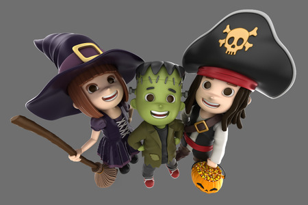3d render of children wearing halloween costume photo