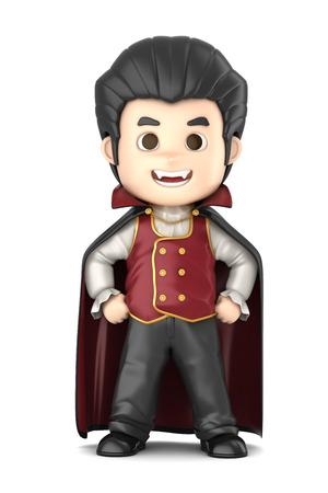 3D übertragen von einem jungen tragen Halloween Dracula Kostüm machen Standard-Bild - 32013957