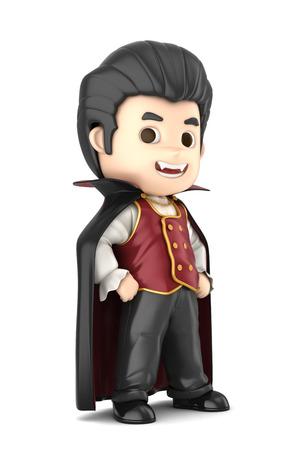 3D übertragen von einem jungen tragen Halloween Dracula Kostüm machen Standard-Bild - 32013959