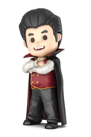 3D übertragen von einem jungen tragen Halloween Dracula Kostüm machen Standard-Bild - 32013960