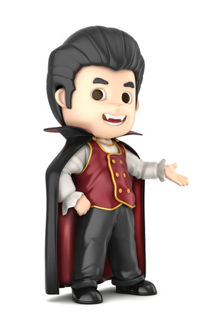 3D render of a boy wearing Halloween dracula costume photo