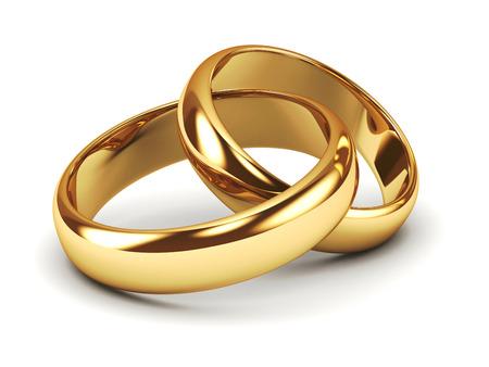wesele: Para złotych obrączek ślubnych