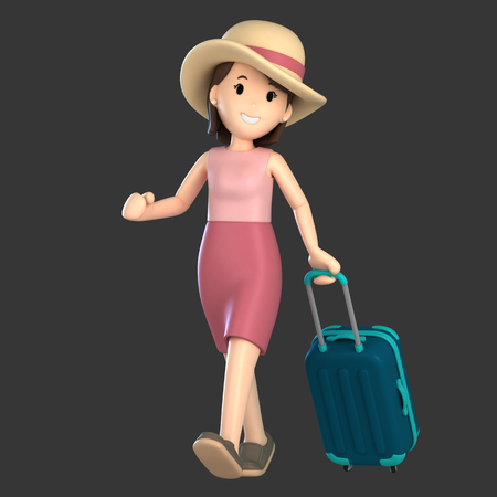 3d render of an adult female with a luggage Standard-Bild - 101072011