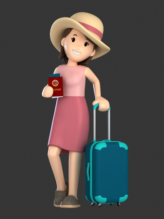 3d render of an adult female with a luggage and passport Фото со стока