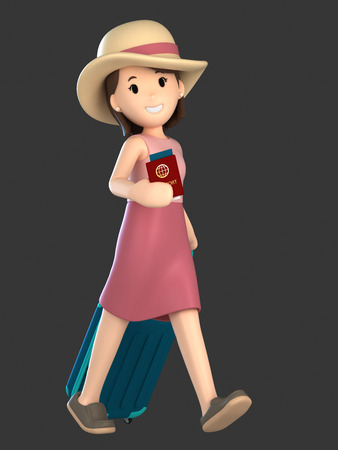 3d render of an adult female with a luggage and passport Standard-Bild - 101072014