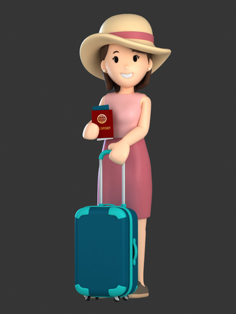 3d render of an adult female with a luggage and passport Standard-Bild - 101100832