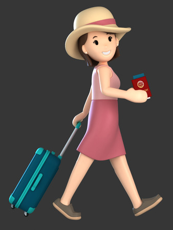 3d render of an adult female with a luggage and passport Standard-Bild - 101106343