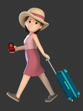 3d render of an adult female with a luggage and passport Standard-Bild - 101100606