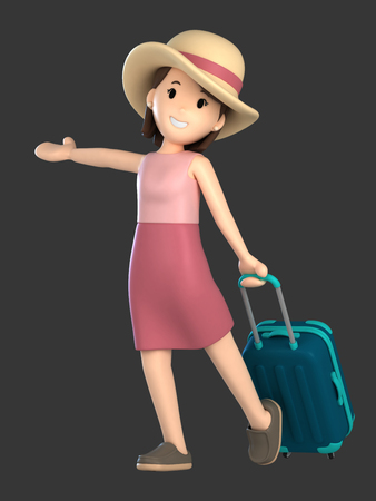 3d render of an adult female with a luggage