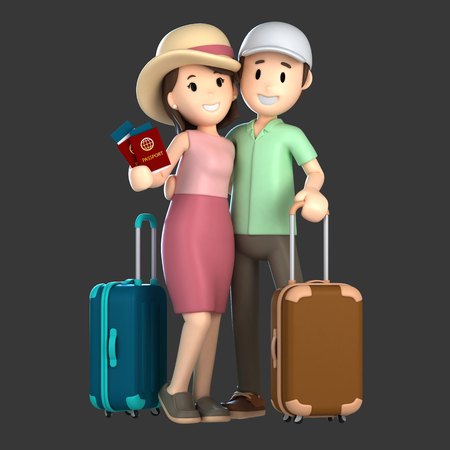 3d render of a couple taking a vacation holding a passport
