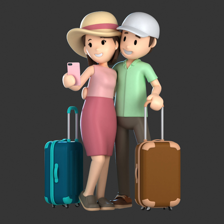 3d render of a couple taking a selfie on a vacation; Standard-Bild - 101100607