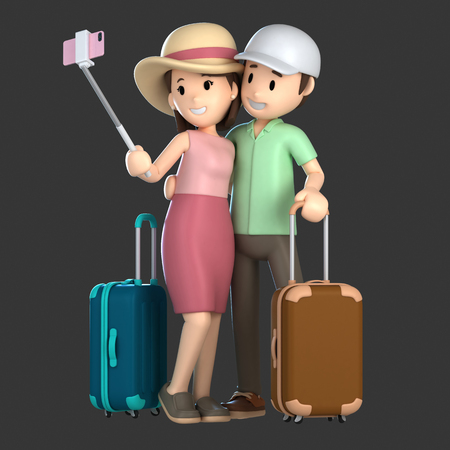 3d render of a couple taking a selfie on a vacation; Standard-Bild - 101072017