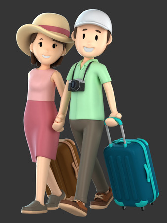 3d render of a couple taking a vacation holding hands Standard-Bild - 101072018